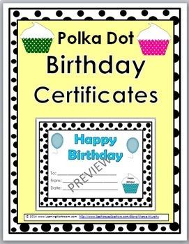 Birthday Certificates - Polka Dot Theme
