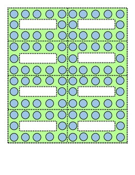 Polka Dot Blue and Lime Green Small Labels