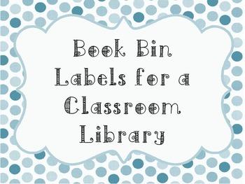 Polka Dot Book Bin Label for Classroom Library