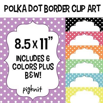 Polka Dot Border Frame Clip Art, 8.5x11 Download. Comes in