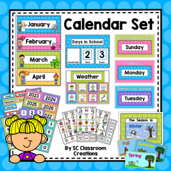 Polka Dot Calendar Set (Rainbow Big Dots)