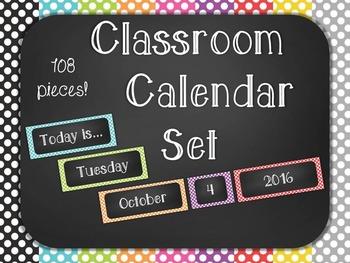 Polka Dot Chalkboard Classroom Calendar Set 9 Colors Blue