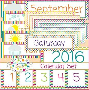 Polka Dot, Chevron, and Stripes Calendar Set