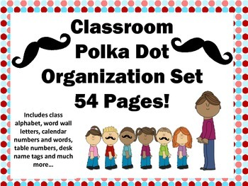 Polka Dot Classroom Decor Organization Set 54 pages