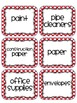 Polka Dot Classroom Labels - Red Polka Dot Edition
