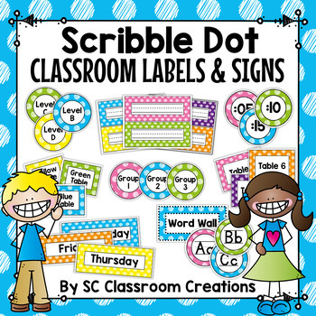 Polka Dot Classroom Labels and Signs (Scribble Dot)