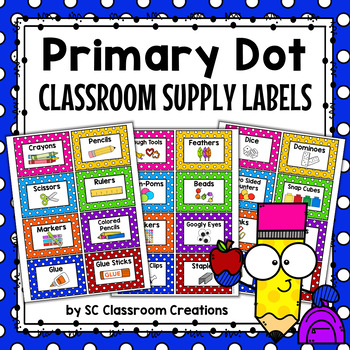 Polka Dot Classroom Supply Labels (Primary Dots)