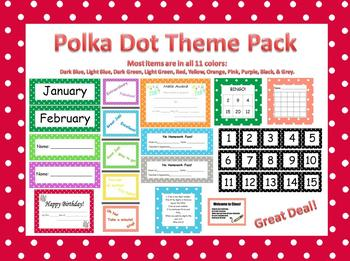 Polka Dot Classroom Theme Materials for All Grades and Teachers