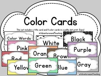 Polka Dot Color Word Cards