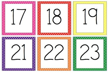 Polka Dot Cubby and Calendar Numbers