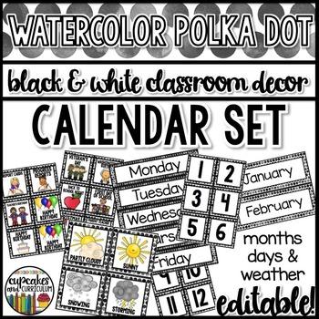 Polka Dot Decor: Calendar Set Editable