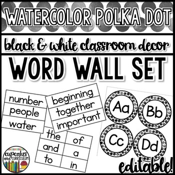 Polka Dot Decor: Word Wall Set Editable