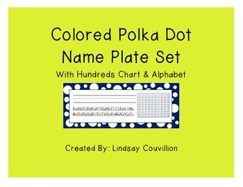 Polka Dot Desk Name Plates - Includes Hundreds Chart and Alphabet