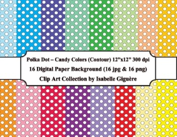 Digital Papers - 16 Polka Dot Candy Colors (Contour-Commer
