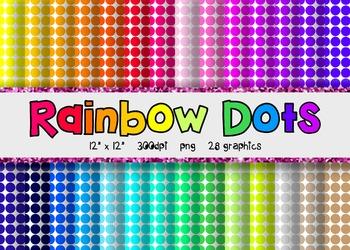 Polka Dot Digital Paper Set 2 - Rainbow Brights {28}
