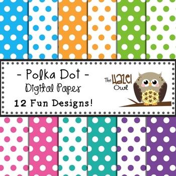 Digital Papers: Trendy Polka Dots