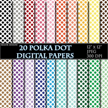 Polka Dot Digital Papers Polkadot Papers Rainbow Circle Sc