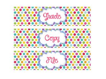 Polka Dot Drawer Labels
