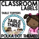 Polka Dot Editable Classroom LABELS (turquoise, purple, pi