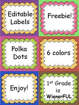 Polka Dot Editable Labels with cute banners!  FREEBIE!