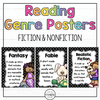 Polka Dot Reading Genre Posters, Fiction, Non-Fiction
