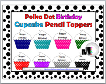 Polka Dot Theme Happy Birthday Cupcake Pencil Toppers / Badges
