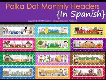 Polka Dot Monthly Headers {In Spanish}