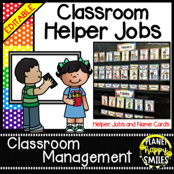 Classroom Helper Jobs (EDITABLE) ~ Polka Dot Print (Multi