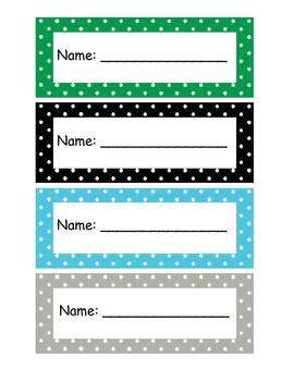 Polka Dot Name Plates for Students