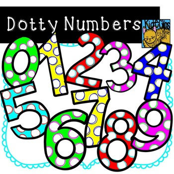 Number Clip Art Polka Dot Dotty Numbers by Kid-E-Clips Per