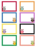 Polka Dot Owl Labels - Blank