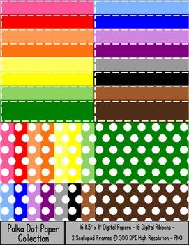 "Polka Dot Paper Bundle {8.5 x 11"" Paper, Ribbons, and Tags"