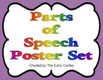 Polka Dot Parts of Speech Poster Set
