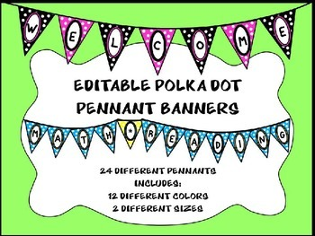 Polka Dot Pennant Banners - Editable Banners (Welcome, Bac