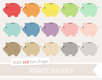 Polka Dot Piggy Bank Clipart