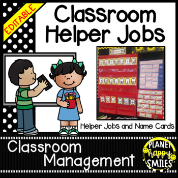 Classroom Helper Jobs (EDITABLE) ~ Polka Dot Print B/W