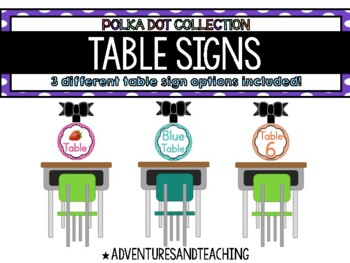 Polka Dot Round Table Signs