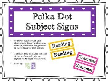 Polka Dot Subject Signs