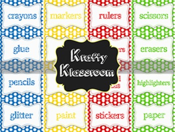 Polka Dot Supply Labels ~ Primary Colors {16 pack}