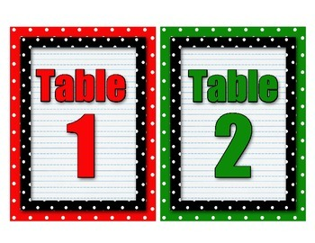 Polka Dot Table Numbers  - Set of 8