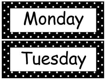 Polka Dot Theme Days of the Week in 11 different colors