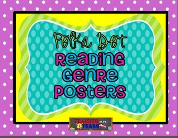 Polka Dot Theme Reading Genre Posters