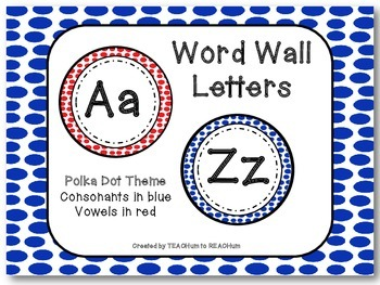 Polka Dot Theme - Word Wall Alphabet