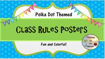 Polka Dot Themed Class Rules Posters