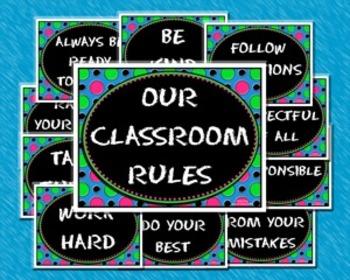 Polka Dot Themed Classroom Rules