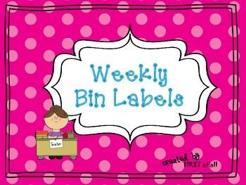 Polka Dot Weekly Bin Labels