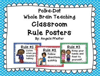 Polka Dot Whole Brain Classroom Rules Posters (Adapted)...