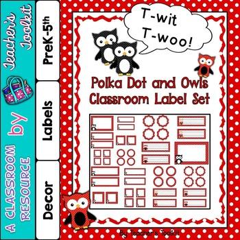 Polka Dot Themed Classroom Label Set Plus Editable Files {