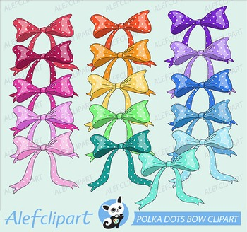 Polka Dots Bow Digital Clipart