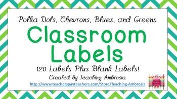Polka Dots, Chevron, Blue, Green Classroom Labels